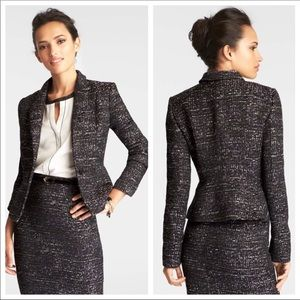 Ann Taylor Black Purple Tweed Blazer Sz 6
